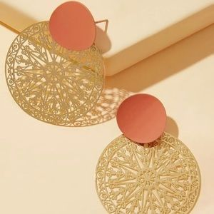 New gold round drop earrings